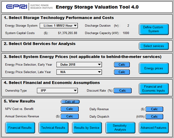 Electrical Energy Storage Valuation Tool - Analytica