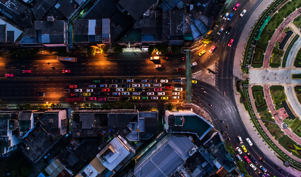 Mixed mode traffic, aerial view